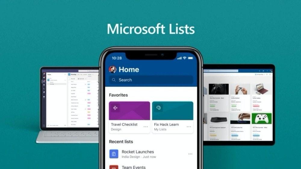 照片中提到了Microsoft Lists、10:28、O Home,包含了微軟公司、Office 365、微軟公司、微軟辦公軟件、網路上的辦公室