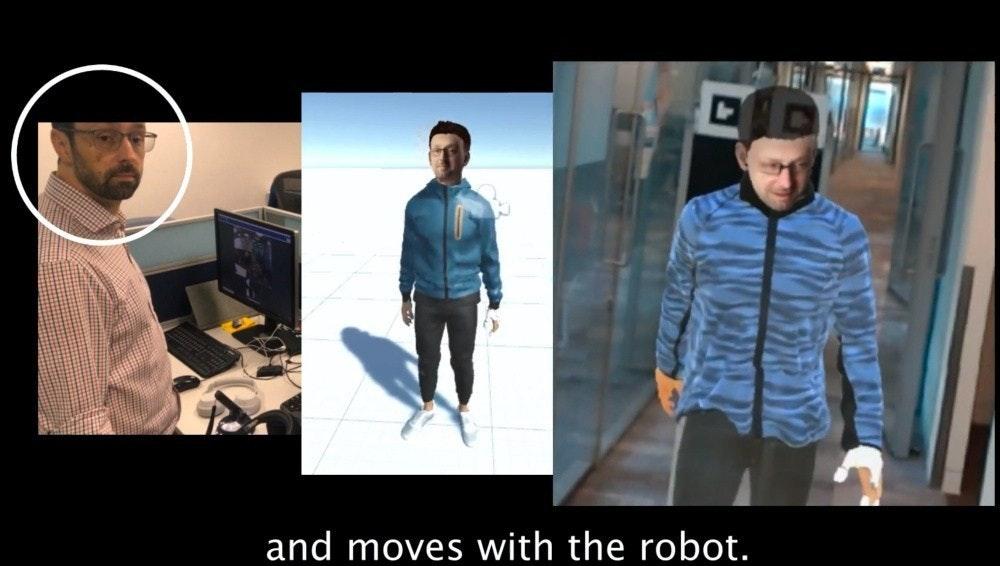 照片中提到了and moves with the robot.,包含了紳士、微軟公司、增強現實、機器人、人工智能