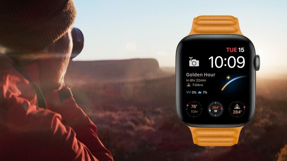 照片中提到了TUE 15、a 10:09、Golden Hour,包含了蘋果手錶、蘋果手錶SE、蘋果手錶系列6、蘋果手錶系列4、Apple Watch Original