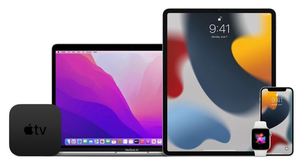 照片中提到了9:41、Monday June 7、Finder Fe Ve e Wirde Hee,跟蘋果電視有關,包含了iOS 15、iOS 15、馬科斯蒙特雷、iPadOS 15、蘋果