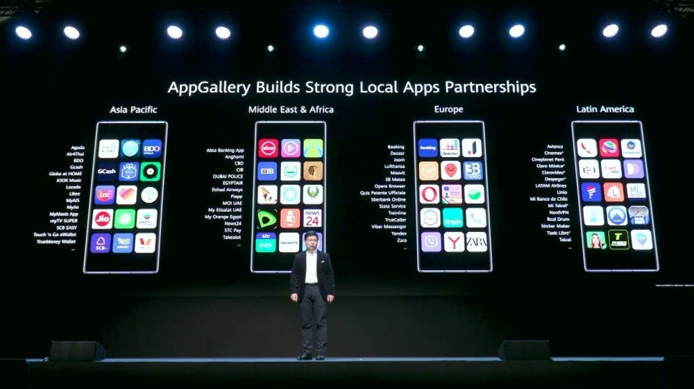 照片中提到了AppGallery Builds Strong Local Apps Partnerships、Asia Pacific、Middle East & Africa,包含了華為AppGallery、華為AppGallery、了華為、華為移動服務、華為伴侶30