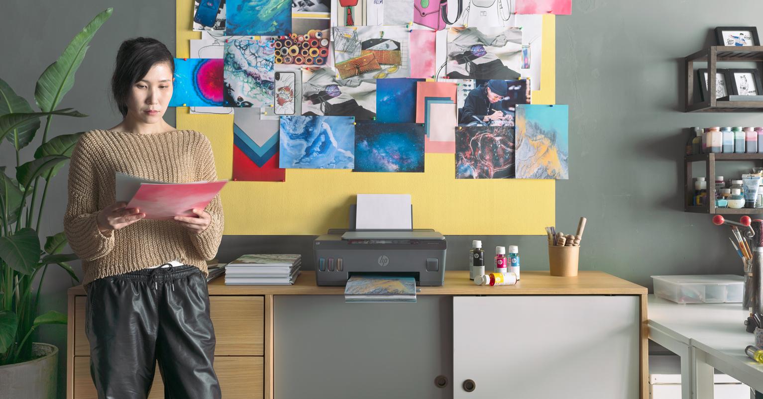, Hewlett-Packard, Printer, HP Smart Tank Wireless 455, Toner, Ink cartridge, Laser printing, Ink, Printing, World, room, Room, Interior design, Furniture, Fashion design, Design, Textile, Desk, Art, Visual arts, Wallpaper