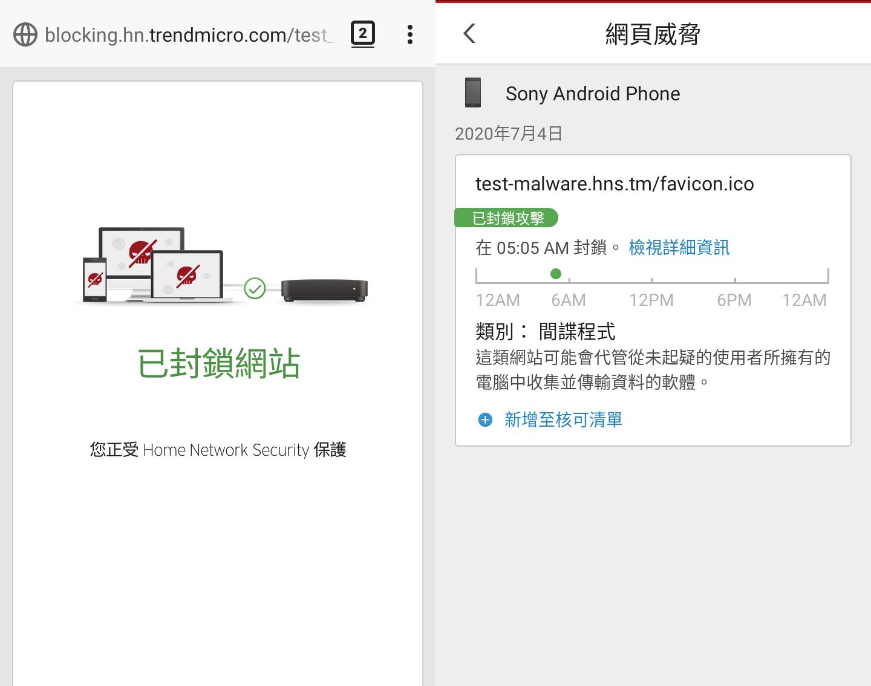 照片中提到了blocking.hn.trendmicro.com/test、2 : <、網頁威脅,包含了網頁、產品設計、網頁、角度、線