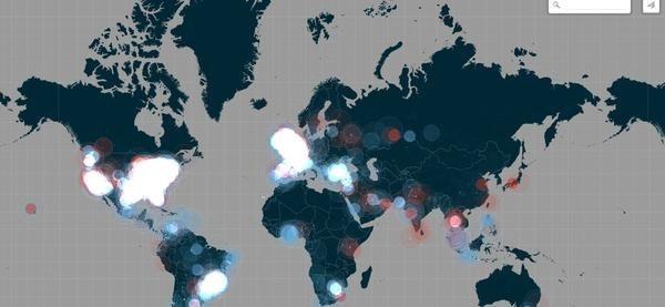 是以光點明暗來表示iPhone6發表時全球瞬間轉推數量這篇文章的首圖