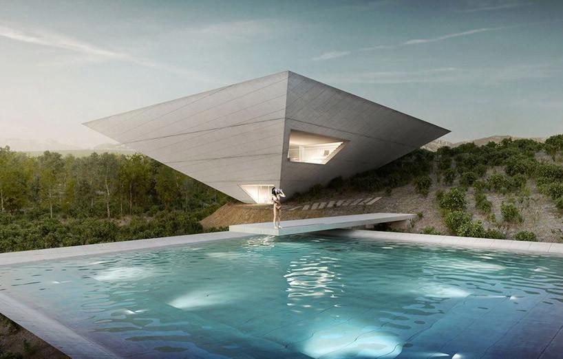 是二個倒立金字塔組成帶泳池的別墅這篇文章的首圖