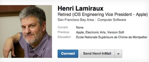 是蘋果 iOS 總工程師 Henri Lamiraux 正式退休...這篇文章的首圖