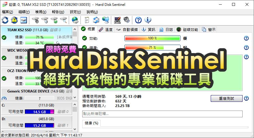 是【限時免費】Hard Disk Sentinel 5.01 硬碟健康助手,預估硬碟剩餘壽命,專業級工具一定要擁有這篇文章的首圖