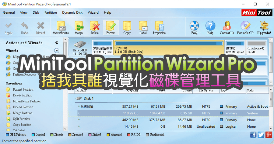 是【限時免費】MiniTool Partition Wizard Pro 10.2.3 視覺化磁碟管理工具,硬碟擴充、合併、調整大小都可以唷!這篇文章的首圖